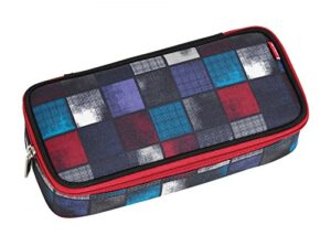 4you Basic Astuccio Squadra Scuola 24 Cm Squares Blue Red 0