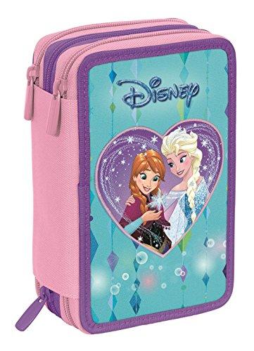 Astuccio 3 Zip Disney Frozen Attrezzato Con Penne Matite Pennarelli Blu Rosa 0