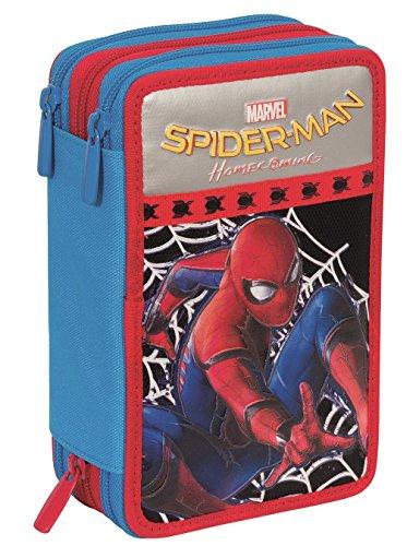 Astuccio 3 Zip Marvel Spiderman Homecoming Attrezzato Con Penne Matite Pennarelli Nero Blu Rosso 0