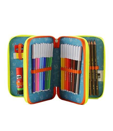 ASTUCCIO scuola SEVEN pennarelli matite gomma ecc.. SJ FACCINE 3 scomparti
