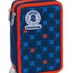 Astuccio 3 Zip Invicta Check Blu Rosso Con Contenuto Matite Pennarelli 0