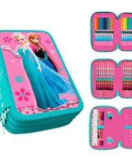 Astuccio Scuola 3 Zip Originale Disney Frozen Completo Di 44 Pezzi 0 0