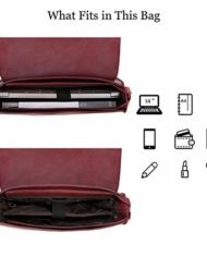 Ecosusi Borsa A Tracolla Donna Borsa Messenger Vintage Per Laptop 14 Pollici Valigetta Da Ufficio Rosso 0 3
