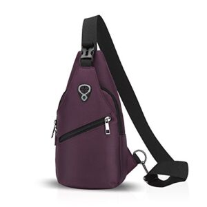 Fandare Sling Bag Monospalla Borse A Spalla Zaino Spalla Borsa A Tracolla Crossbody Bag Borsello Marsupio Zainetto Crossbody Chest Bag Hiking Bag Zaino Uomo Donne Poliestere Viola 0