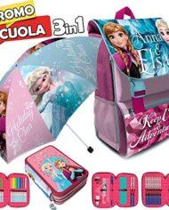 Kit Scuola 3 In 1 School Promo Pack Zaino Estensibile Astuccio 3 Zip Accessoriato Ombrello Salvaspazio Disney Frozen Anna E Elsa Edizione Nuova 0 0