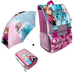 Kit Scuola 3 In 1 School Promo Pack Zaino Estensibile Astuccio 3 Zip Accessoriato Ombrello Salvaspazio Disney Frozen Anna E Elsa Edizione Nuova 0