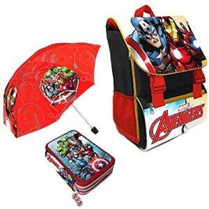 Kit Scuola 3 In 1 School Promo Pack Zaino Estensibile Astuccio 3 Zip Accessoriato Ombrello Salvaspazio Marvel Avengers Super Eroi Edizione Nuova 0