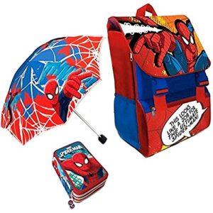 Kit Scuola 3 In 1 School Promo Pack Zaino Estensibile Astuccio 3 Zip Accessoriato Ombrello Salvaspazio Spider Man Uomo Ragno Marvel Edizione Nuova 0