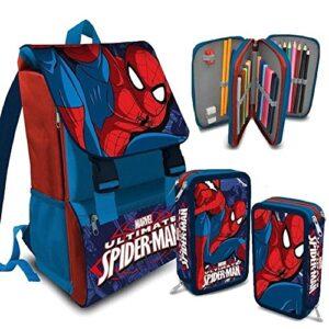 Kit Scuola School Promo Pack Zaino Estensibile Astuccio 3 Zip Marvel Spiderman Uomo Ragno Edizione 2016 2017 Omaggio Kit Papermate Sharpie Evidenziatori 0