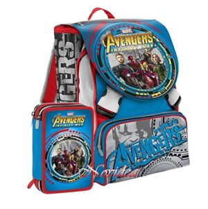 School Pack Zaino Scuola Avengers Infinity War Seven Estensibile Con Gadget Astuccio 3 Zip 0