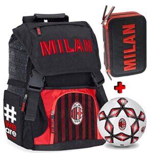 Schoolpack Zaino Estensibile Ac Milan Con Pallone Astuccio 3 Zip Completo Di Cancelleria Scuola 2018 209 0