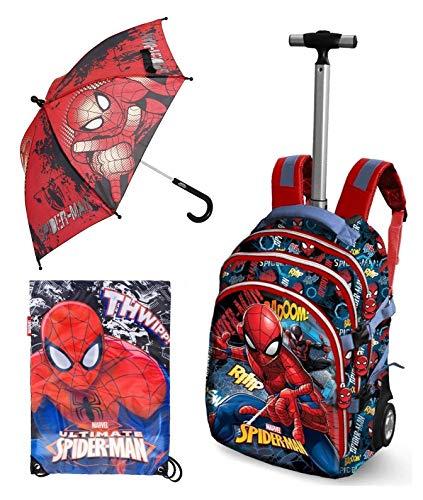 Set 3 Pezzi Zaino Trolley Marvel Spiderman Peso Solo 23 Kg 19 X 30 X 48 Cm Sacca Zaino Palestra Ombrello 0