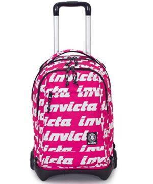 Trolley Invicta Plug Lettering Rosa Zaino Sganciabile E Lavabile Scuola E Viaggio 35 Lt 0