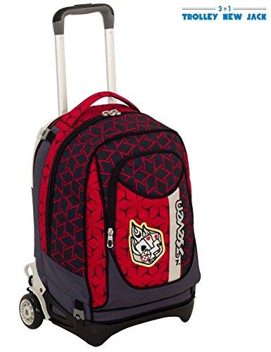Trolley Seven New Jack Dice Boy Rosso Sganciabile E Lavabile Scuola E Viaggio 0