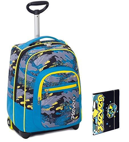 Trolley Bambino Seven Cartellina A4 Azzurro Giallo Camouflage Spallacci A Scomparsa Zaino 35 Lt Scuola E Viaggio Idea Regalo Natale 0