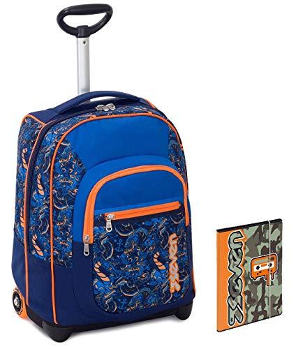 Trolley Bambino Seven Cartellina A4 Blu Arancione Spallacci A Scomparsa Zaino 35 Lt Scuola E Viaggio 0