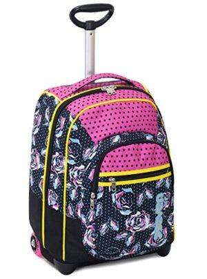 Trolley Fit Seven Romantic Nero Rosa 35 Lt 2in1 Zaino Con Spallacci A Scomparsa Scuola Viaggio 0