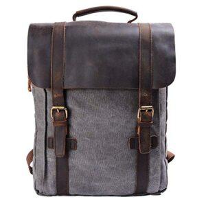 Y Double Vintage Tela Zaino Esterni Viaggi Zaino Scuola Borsa A Tracolla Zaino In Pelle Tela Vera Pelle Fit Ipad E 15 Laptop Backpack Per Uomo E Donna 0