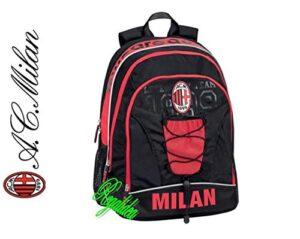 Zaino Scuola Milan Milano Rossoneri Tondo Originale Nuova Collezione Neroazzurro Calcio Tifoso Omaggio Penna Glitterata Omaggio Segnalibro 0