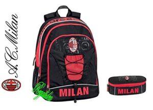 Zaino Scuola Milan Milano Rossoneri Tondo Originale Nuova Collezione Calcio Tifoso Astuccio Zip Omaggio Penna Glitterata Omaggio Segnalibro 0
