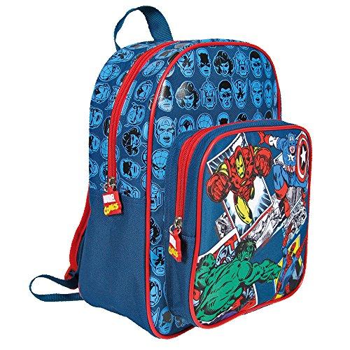 Zainetto Bambino Marvel Avengers Zaino Con Tasca Frontale Con Capitan America Iron Man Spiderman E Hulk Cartella Scolastica Per Lasilo E La Scuola Blu 31x24x12 Cm Perletti 0