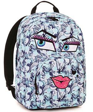 Zaino Invicta Ollie Pack Face Fantasy 25 Lt Azzurro Tasca Per Portatile E Tablet 0