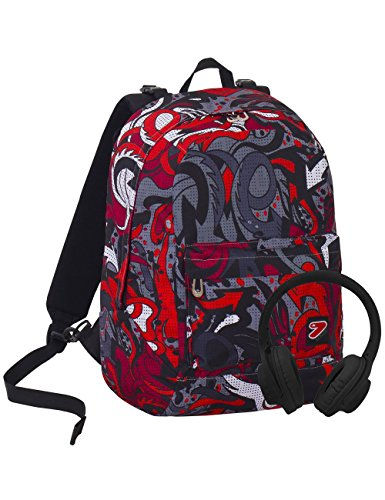 Zaino Seven The Double Flame Nero Rosso Cuffie Stereo Soft Touch 2 Zaini In 1 Reversibile 0