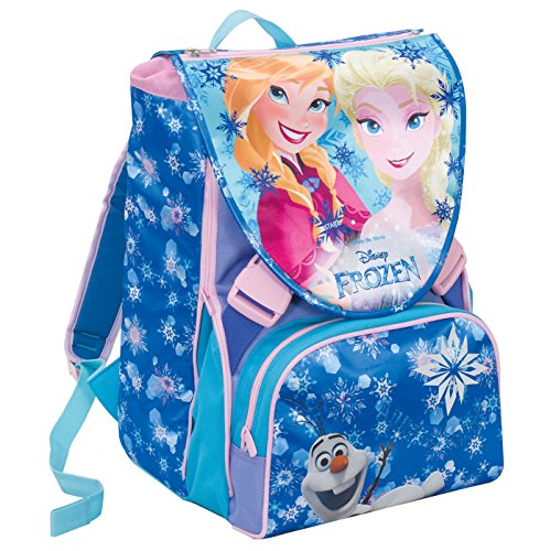 Zaino Scuola Estensibile Disney Frozen Magic Lights Blu 28 Lt Led Luminosi Gadget Inlcuso 0