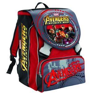 Zaino Scuola Estensibile Marvel Avengers Infinity War Rosso 28 Lt 2 Pattine In 3d Gadget Incluso 0