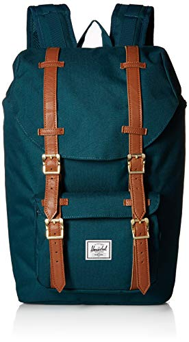 Herschel Zaino Little America Mid Volume Deep Teal Tan Synthetic Leather 0