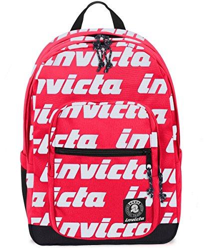 Zaino Invicta Jelek Lettering Rosso Tasca Porta Pc Padded 38 Lt 0