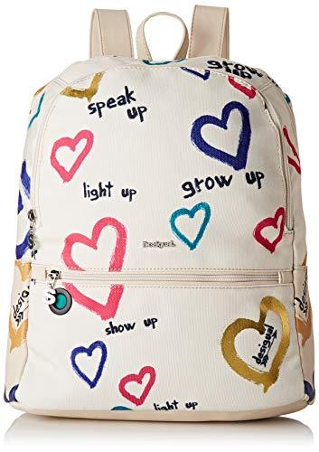 Desigual Bag Natural Message Novara Women Borse A Zainetto Donna Bianco Crudo 12x353x287 Cm B X H T 0