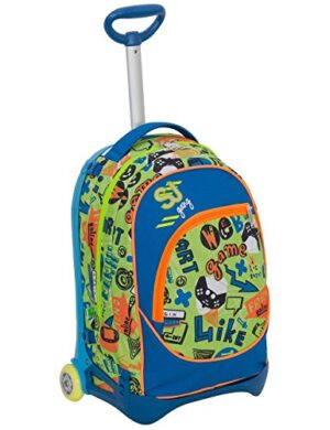 Trolley Jack Junior Sj Gang Blu Verde 28 Lt Sganciabile E Lavabile Scuola E Viaggio 0