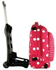 Trolley Tech Invicta Micro Macro Dots Rosa Pois 34 Lt 2in1 Zaino Sganciabile Scuola Viaggio 0 3