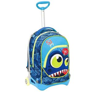 Zaino Scuola Trolley Seven Sj Gang Face Boy Jack Junior Sganciabile Colore Blu 0