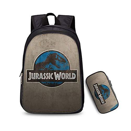Bdmf 3d Jurassic Park Dinosauro Stampare 2pcs Set Di Borse Zaino Scuola Bambino Ragazzo Ragazza Scuola Bookbag E Astuccio Per Computer Portatile Da 14 Pollici 0