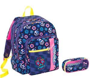 Seven Zaino Scuola Outsize Portapenne Mexi Girl Blu E Rosa 33 Lt Inserti Rifrangenti 0