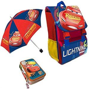 Kit Scuola 3 In 1 School Promo Pack Zaino Estensibile Astuccio 3 Zip Accessoriato Ombrello Salvaspazio Disney Cars Saetta Mcqueen Edizione Nuova 0