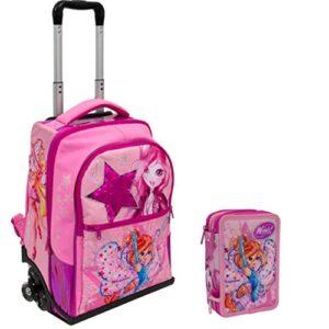 Winx Schoolpack Zaino Trolley Astuccio 3 Zip Completo Di Cancelleria Scuola 2019 20 0