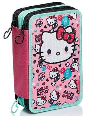 Astuccio 3 Scomparti Hello Kitty Fabulous Rosa Portapenne Scuola Completo Di Matite Pennarelli 0