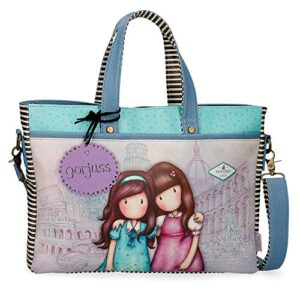 Borsa Porta Computer Gorjuss Friends Walk Together 39x28x65 Cms Viola 0