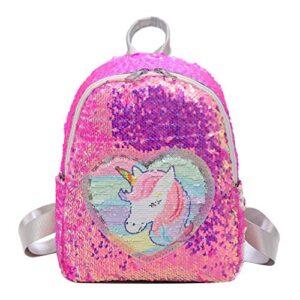 Demiawaking Zaino Con Paillettes Glitterati Zainetto Glitter Carino Bambina Zaino Da Viaggio Casual Borsa Da Scuola Per Bambina Ragazze Rosa Rossa 0