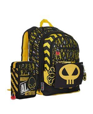 Gopop Schoolpack Zaino Scuola Alien Estensibile 43x31x17 Cm Astuccio 3 Zip Completo 0