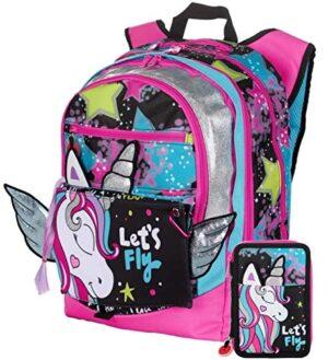 Gopop Schoolpack Zaino Scuola Unicorno Estensibile 43x31x17 Cm Astuccio 3 Zip Completo 0