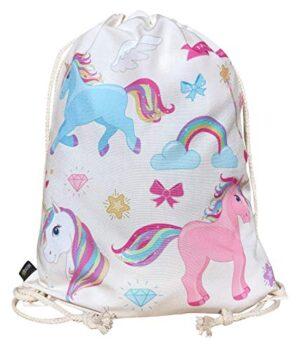 Heckbo Sacca Per Bambine Con Unicorni Beige Motivo Con Unicorni Colorati 40x32cm Sport Scuola Tempo Libero Asilo Scuola Materna Gita Bambine Bimbe Ragazze 0