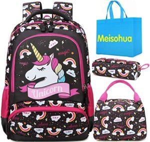 Meisohua Unicorno Zaino Scuola Elementare Impermeabile Zaini Bambino Sacchetti Di Scuola Per Ragazze Leggero Campeggio Borse Casual Daypacks Per Adolescenti Studenti 3 Pezzi Marrone Scuro 0