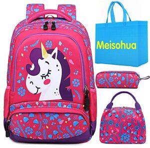 Meisohua Unicorno Zaino Scuola Elementare Impermeabile Zaini Bambino Sacchetti Di Scuola Per Ragazze Leggero Campeggio Borse Casual Daypacks Per Adolescenti Studenti 3 Pezzi Rosa Rossa 0