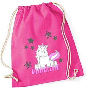 Sacca Da Ginnastica Con Nome Con Stampa Nome Motivo Unicorno Seduto Rosa 100 Cotone Per Bambine Personalizzabile E Stampata 0