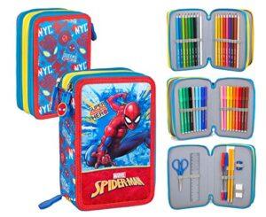 Spiderman 41434 Astuccio Triplo Riempito 44 Accessori Scuola 20 Centimetri 0