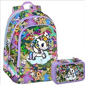 Tokidoki Unicorno Schoolpack Zaino Tre Cerniere Astuccio 3 Zip Completo Di Cancelleria Collezione Scuola 2019 20 0